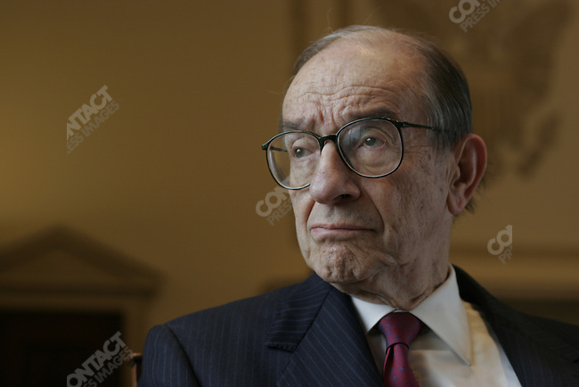 Federal Reserve Chairman Alan Greenspan, in the FED Boardroom of the Eccles Building. Washington, D.C., April 15, 2005