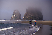 AJ3664, Olympic National Park, Pacific, Olympic Penninsula, fog, Washington, People walk along the foggy Second Beach near magnificent rock formations in Olympic National Park in the state of Washington.