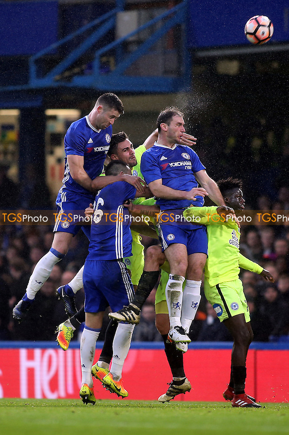 Branislav Ivanovic of Chelsea heads the ball towards the Peterborough goal during Chelsea vs Peterborough United, Emirates FA Cup Football at Stamford Bridge on 8th January 2017