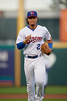 Buffalo Bisons Santiago Espinal (2) during an International League game against the Rochester Red Wings on August 26, 2019 at Sahlen Field in Buffalo, New York.  Buffalo defeated Rochester 5-4.  (Mike Janes/Four Seam Images)
