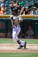 Roberto Lopez (30) of the Salt Lake Bees at bat against the Fresno Grizzlies at Smith's Ballpark on May 26, 2014 in Salt Lake City, Utah.  (Stephen Smith/Four Seam Images)