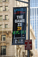 A The Game is in US banner hangs across the street from the St. Regis Hotel prior to the arrival of members of the FIFA World Cup Inspection Delegation at the St. Regis Hotel in New York, NY, on September 06, 2010.