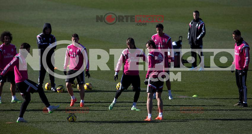Kehedira, James, Coentrao, Bale and Cristiano Ronaldo during a sesion training at Real Madrid City in Madrid. January 23, 2015. (ALTERPHOTOS/Caro Marin) /NortePhoto<br /> NortePhoto.com