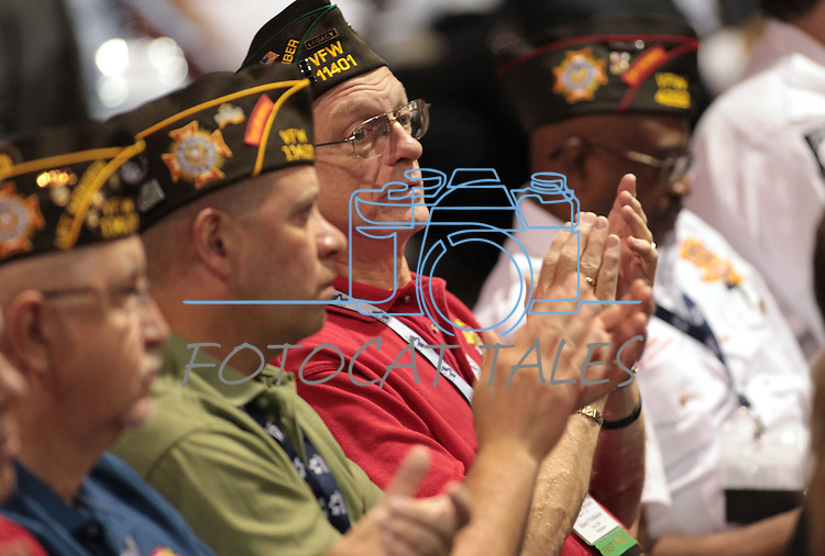 Attendees listen to the speakers at the 113th National Convention of the Veterans of Foreign Wars in Reno, Nev., on Monday, July 23, 2012..Photo by Cathleen Allison
