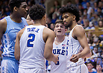 Duke defeats Carolina 74-64 during their annual rivalry in Cameron Indoor Stadium. Senior Grayson Allen plays his final game in Cameron.