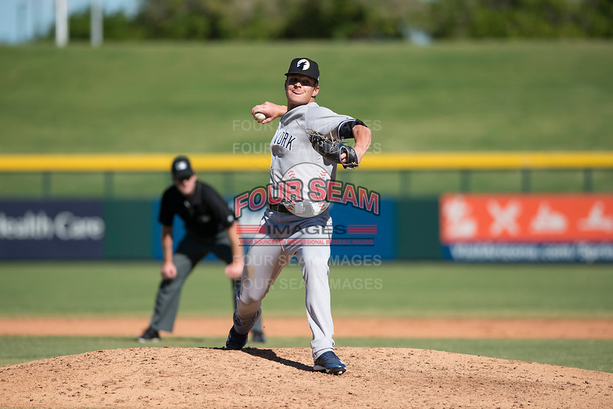 Glendale Desert Dogs relief pitcher Hobie Harris (41), of the New York Yankees organization, delivers a pitch during an Arizona Fall League game against the Mesa Solar Sox at Sloan Park on October 27, 2018 in Mesa, Arizona. Glendale defeated Mesa 7-6. (Zachary Lucy/Four Seam Images)