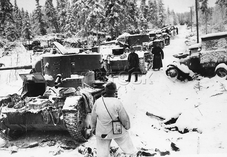 World War Two, 17th January 1940, Finland, A long line of finish tanks captured by the Soviet army on the Suomussalmi front.