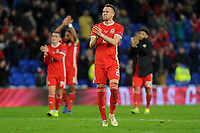 Chris Gunter of Wales applauds the fans at the final whistle during the UFEA Nations League B match between Wales and Denmark at The Cardiff City Stadium in Cardiff, Wales, UK. Friday 16 November 2018