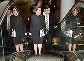 United States Senator Elizabeth Hanford Dole (Republican of North Carolina) rides the escalator with her Chief Counsel Scott Quesenberry as she goes to the U.S. Capitol to preside for the first time over a session of the United States Senate in Washington, DC on January 9, 2003.  <br /> Credit: Ron Sachs / CNP<br /> <br /> (RESTRICTION: NO New York or New Jersey Newspapers or newspapers within a 75 mile radius of New York City)