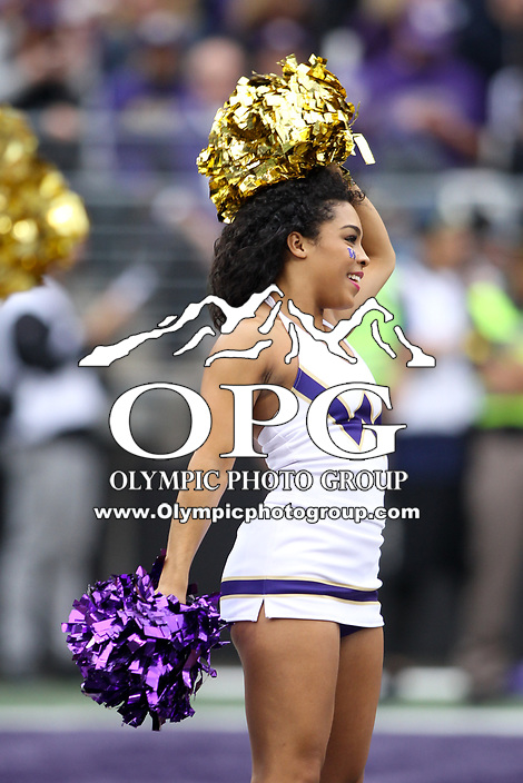 SEATTLE, WA - SEPTEMBER 9:  Washington cheerleader Geena Rojas entertained fans during the college football game between the Washington Huskies and the Montana Grizzlies on September 09, 2017 at Husky Stadium in Seattle, WA. Washington won 63-7 over Montana.