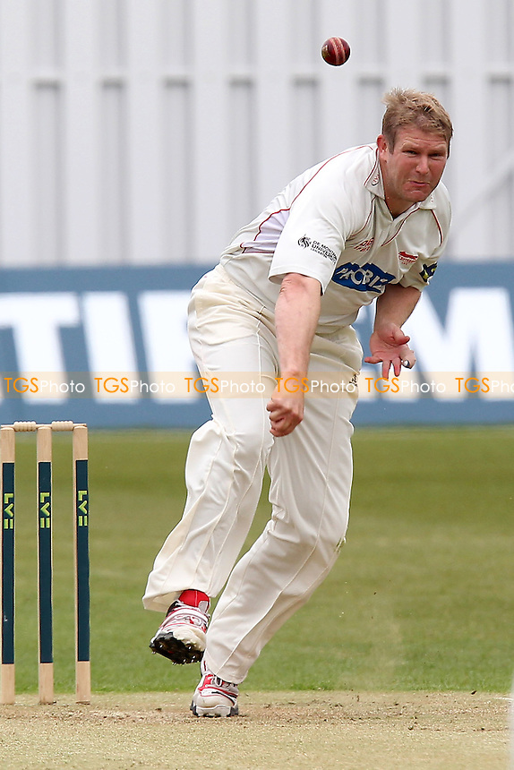 Matthew Hoggard in bowling action for Leicestershire - Leicestershire CCC vs Essex CCC  - LV County Championship Division Two Cricket at Grace Road, Leicester - 17/05/12 - MANDATORY CREDIT: Gavin Ellis/TGSPHOTO - Self billing applies where appropriate - 0845 094 6026 - contact@tgsphoto.co.uk - NO UNPAID USE.