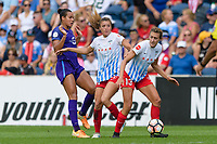 Bridgeview, IL - Saturday July 22, 2017: Toni Pressley, Sofia Huerta, Morgan Proffitt during a regular season National Women's Soccer League (NWSL) match between the Chicago Red Stars and the Orlando Pride at Toyota Park. The Red Stars won 2-1.