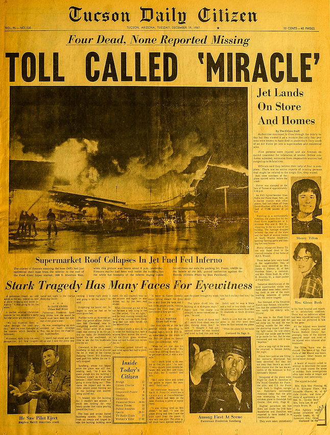 This is the Tucson Citizen front page for December 19, 1967, when an Air Force jet crashed into a supermarket.