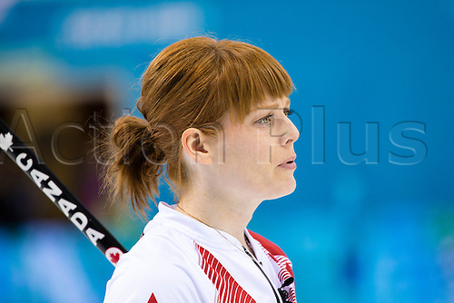 19.02.2014 Sochi, Krasnodar Krai, Russia.   Canada's Dawn McEWEN during the semifinal of the Women's Curling competition between Great Britain and Canada from the Ice Cube Curling Centre, Coastal Clustre - XXII Olympic Winter Games