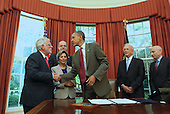 United States President Barack Obama shakes hands with Richard Stone, President, Conference of Presidents of Major American Jewish Organizations, after signing the United States-Israel Enhanced Security Cooperation Act in the Oval Office of the White House.   With President Obama are, from left to right: U.S. Senator Barbara Boxer Democrat of California);  Howard Friedman, Past Chair of the Board, American Israel Public Affairs Committee (AIPAC); U.S. Representative Howard Berman (Democrat of California);  and Lee Rosenberg, Chairman of the Board, AIPAC.  .Credit: Molly Riley / Pool via CNP