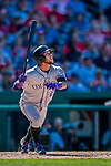30 July 2017: Colorado Rockies infielder Alexi Amarista pinch hits in the 8th inning against the Washington Nationals at Nationals Park in Washington, DC. The Rockies defeated the Nationals 10-6 in the second game of their 3-game weekend series. Mandatory Credit: Ed Wolfstein Photo *** RAW (NEF) Image File Available ***