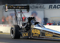 Aug 15, 2014; Brainerd, MN, USA; NHRA top fuel dragster driver Khalid Albalooshi during qualifying for the Lucas Oil Nationals at Brainerd International Raceway. Mandatory Credit: Mark J. Rebilas-