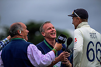Double centurion Joe Root is interviewed after day four of the international cricket 2nd test match between NZ Black Caps and England at Seddon Park in Hamilton, New Zealand on Friday, 22 November 2019. Photo: Dave Lintott / lintottphoto.co.nz
