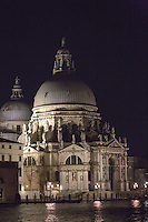 Chiese de Santa Maria de la Salute at night in Venice, Italy