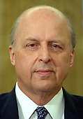 Washington, D.C. - May 8, 2006 -- National Intelligence Director John Negroponte listens as United States President George W. Bush names Air Force General Michael Hayden to be the next Central Intelligence Agency (CIA) Director in the Oval Office of the White House on May 8, 2006. Hayden will replace Porter Goss if confirmed.   <br /> Credit: Roger Wollenberg - Pool via CNP