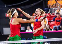 The Hague, The Netherlands, Februari 8, 2020,    Sportcampus, FedCup  Netherlands -  Balarus, Doubles: Sabalenka/Sasnovich win the Dubbel and celebrate 3-2 Belarus<br /> Photo: Tennisimages/Henk Koster