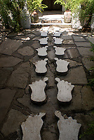 Cement feet leading to Posada El Castillo, former home of Edward James in Xilitla, San Luis Potosi state, Mexico