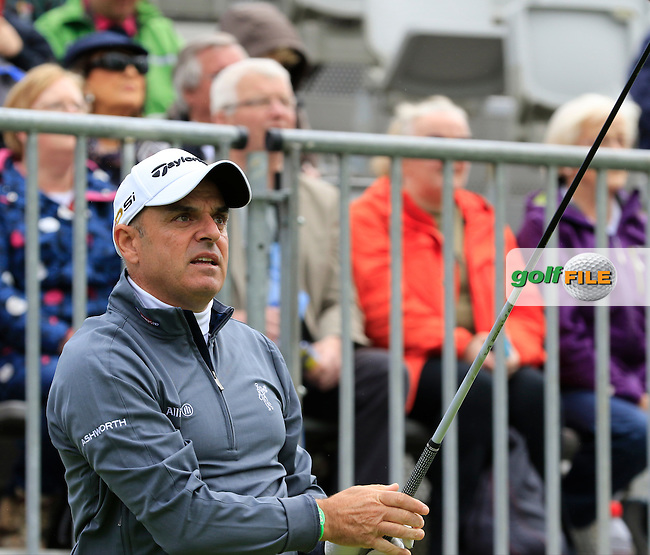 Paul McGinley (IRL) tees off the 1st tee during Wednesday's Pro-Am of the 2016 Dubai Duty Free Irish Open hosted by Rory Foundation held at the K Club, Straffan, Co.Kildare, Ireland. 18th May 2016.<br /> Picture: Eoin Clarke | Golffile<br /> <br /> <br /> All photos usage must carry mandatory copyright credit (&copy; Golffile | Eoin Clarke)