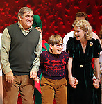 Dan Lauria, Johnny Rabe & Erin Dilly during the Broadway Opening Night Performance Curtain Call for 'A Christmas Story - The Musical'  at the Lunt Fontanne Theatre in New York City on 11/19/2012.