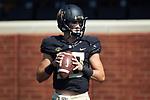 Wake Forest Demon Deacons quarterback Sam Hartman (10) warms-up prior to the game against the Notre Dame Fighting Irish at BB&T Field on September 22, 2018 in Winston-Salem, North Carolina. The Fighting Irish defeated the Demon Deacons 56-27. (Brian Westerholt/Sports On Film)