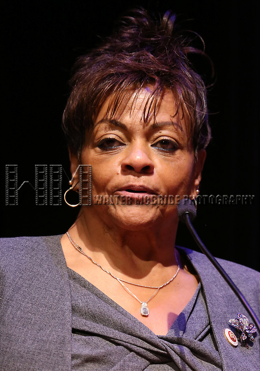 Inez Dickens performs at Woodie King Jr.'s New Federal Theatre 44th Anniversary Gala honoring Voza Rivers at BMCC Tribeca Performing Arts Center on March 16, 2014 in New York City.