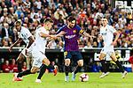Gabriel Armando de Abreu of Valencia CF (L) trips up with Lionel Messi of FC Barcelona (R) during their La Liga 2018-19 match between Valencia CF and FC Barcelona at Estadio de Mestalla on October 07 2018 in Valencia, Spain. Photo by Maria Jose Segovia Carmona / Power Sport Images