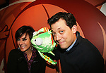 "Colleen Zenk Pinter (ATWT) poses with actor John Tartaglia (Avenue Q) and Bubble as they (John and Bubbles) will be starring in his own John Tartaglia's Imaginocean starting March 17 at New World Stages, NYC. at 14th Annual Kids' Night on Broadway 2010  ""Fan Festival"" on February 2, 2010 at Madame Tussauds New York   (Photo by Sue Coflin/Max Photos)"