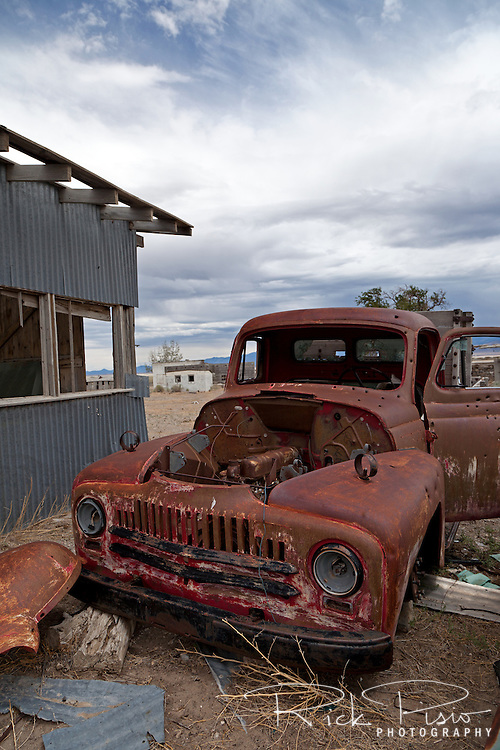 A rusting pickup truck at Tippet's ranch in Nevada. Tippets was described in the 1915 Lincoln Highway Guide as offering meals, lodging, camp sites, as well as gas and oil.