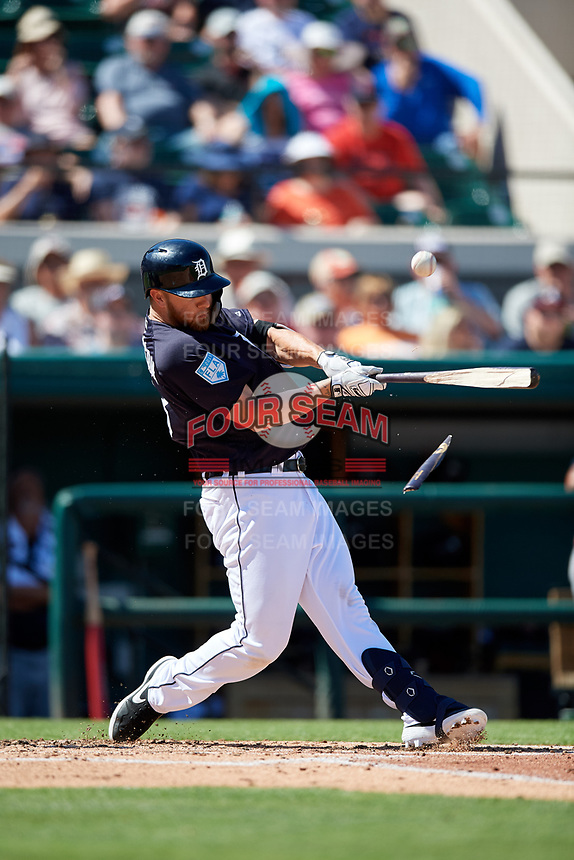 Detroit Tigers designated hitter Dustin Peterson (13) breaks his bat on a swing during a Grapefruit League Spring Training game against the Atlanta Braves on March 2, 2019 at Publix Field at Joker Marchant Stadium in Lakeland, Florida.  Tigers defeated the Braves 7-4.  (Mike Janes/Four Seam Images)