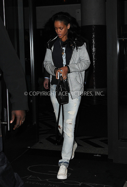 WWW.ACEPIXS.COM . . . . .  ....May 2 2012, New York City....Singer Rihanna leaves her midtown hotel on May 2 2012 in New York City....Please byline: CURTIS MEANS - ACE PICTURES.... *** ***..Ace Pictures, Inc:  ..Philip Vaughan (212) 243-8787 or (646) 769 0430..e-mail: info@acepixs.com..web: http://www.acepixs.com