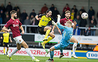 5th January 2020; Pirelli Stadium, Burton Upon Trent, Staffordshire, England; English FA Cup Football, Burton Albion versus Northampton Town; Ryan Edwards of Burton Albion scores a late goal past Northampton Town Goalkeeper David Cornell in the 47th minute of the first half 1-3 - Strictly Editorial Use Only. No use with unauthorized audio, video, data, fixture lists, club/league logos or 'live' services. Online in-match use limited to 120 images, no video emulation. No use in betting, games or single club/league/player publications