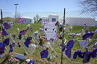 """""""Prince Will Reign"""" poster surrounded by purple balloons and bouquets, Paisley Park Studios behind. Chanhassen Minnesota MN USA"""