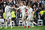 Gareth Bale of Real Madrid celebrates with Cristiano Ronaldo of Real Madrid during the match Real Madrid vs RCD Espanyol, a La Liga match at the Santiago Bernabeu Stadium on 18 February 2017 in Madrid, Spain. Photo by Diego Gonzalez Souto / Power Sport Images