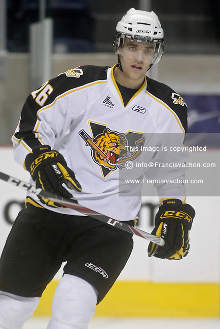 QMJHL (LHJMQ) hockey profile photo on Victoriaville Tigres Andrew Smith January 30, 2011 at the Colisee Pepsi in Quebec city.