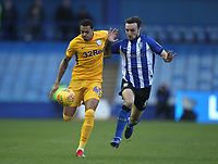 Preston North End's Lukas Nmecha in action with Sheffield Wednesday's Morgan Fox<br /> <br /> Photographer Mick Walker/CameraSport<br /> <br /> The EFL Sky Bet Championship - Sheffield Wednesday v Preston North End - Saturday 22nd December 2018 - Hillsborough - Sheffield<br /> <br /> World Copyright &copy; 2018 CameraSport. All rights reserved. 43 Linden Ave. Countesthorpe. Leicester. England. LE8 5PG - Tel: +44 (0) 116 277 4147 - admin@camerasport.com - www.camerasport.com