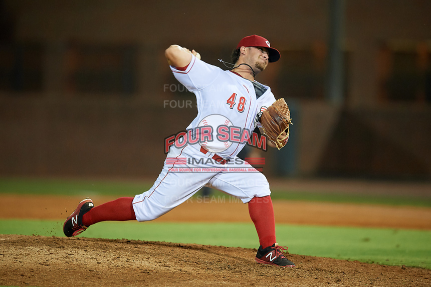 Greeneville Reds relief pitcher Connor Bennett (48) delivers a pitch during a game against the Pulaski Yankees on July 27, 2018 at Pioneer Park in Tusculum, Tennessee.  Greeneville defeated Pulaski 3-2.  (Mike Janes/Four Seam Images)