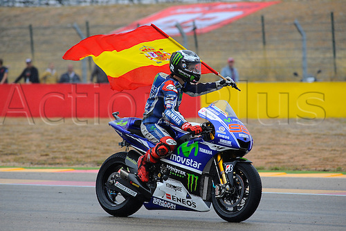 28.09.2014.  Aragon, Spain. MotoGP. Gran Premio Movistar de Aragon Race Day. Jorge Lorenzo (Movistar Yamaha) celebrates his win in the race