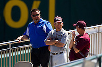 Keith Guttin (2) of the Missouri State Bears talks with other coaches during a game between the Evansville Purple Aces and the Indiana State Sycamores in the 2012 Missouri Valley Conference Championship Tournament at Hammons Field on May 23, 2012 in Springfield, Missouri. (David Welker/Four Seam Images)