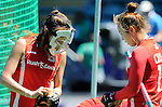 The Hague, Netherlands, June 13: Players of Korea prepare for a penalty corner during the field hockey placement match (Women - Place 7th/8th) between Korea and Germany on June 13, 2014 during the World Cup 2014 at Kyocera Stadium in The Hague, Netherlands. Final score 4-2 (2-0)  (Photo by Dirk Markgraf / www.265-images.com) *** Local caption ***