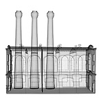 X-ray image of a short factory (black on white) by Jim Wehtje, specialist in x-ray art and design images.