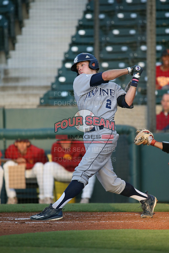 Cole Kreuter (2) of the UC Irvine Anteaters bats against the Southern California Trojans at Dedeaux Field on April 18, 2017 in Los Angeles, California. UC Irvine defeated Southern California, 14-3. (Larry Goren/Four Seam Images)