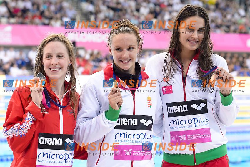 PODIUM <br /> Hanna Miley GBR Silver Medal <br /> Katinka HOSSZU HUN Gold Medal <br /> Zsuzsanna JAKABOS HUN Bronze medal <br /> 400m Medley Women final<br /> London, Queen Elizabeth II Olympic Park Pool <br /> LEN 2016 European Aquatics Elite Championships <br /> Diving  <br /> Day 08 16-05-2016<br /> Photo Andrea Staccioli/Deepbluemedia/Insidefoto