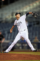 Peoria Javelinas pitcher Greg Harris (39), of the Tampa Bay Rays organization, during a game against the Glendale Desert Dogs on October 18, 2016 at Peoria Stadium in Peoria, Arizona.  Peoria defeated Glendale 6-3.  (Mike Janes/Four Seam Images)