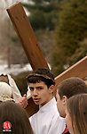 SOUTHBURY, CT- 25 MARCH 2005-032505J05---Cyrus Eslami, 13, of Southbury, was one of the four youths to portray Jesus during the annual Good Friday Faith Walk sponsored by Southbury churches. The event dramatizes the Stations of the Cross. -- Jim Shannon Photo--Good Friday Faith Walk, Cyrus Eslami, Southbury, Jesus are CQ