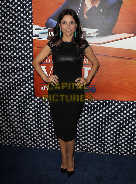 Julia Louis-Dreyfus .Los Angeles Premiere for the second season of HBO's series VEEP Held At Paramount Studios, Los Angeles, California, USA.  .April 9th, 2013.full length black  leather dress hand son hips.CAP/ADM/KB.©Kevan Brooks/AdMedia/Capital Pictures.